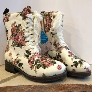 Muk Luks Floral Combat Boots